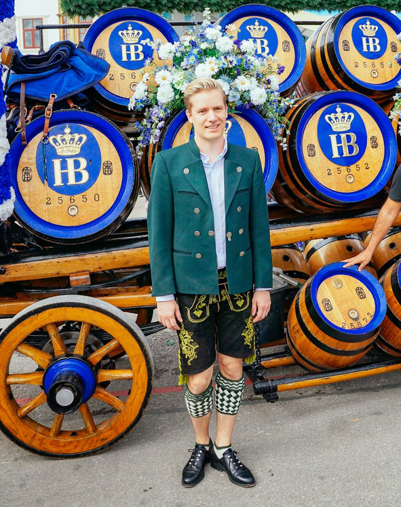 Me wearing a traditional bavarian outfit at Oktoberfest in Munich