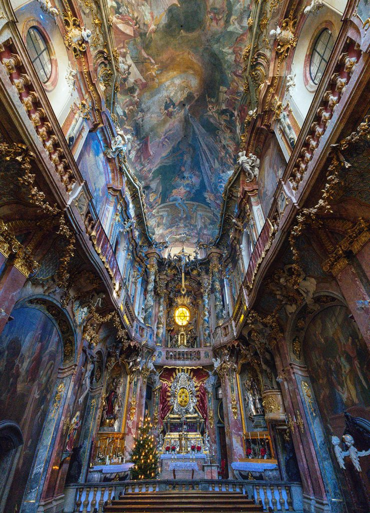 Inside the baroque Asamkirche in the pedestrian area of Munich