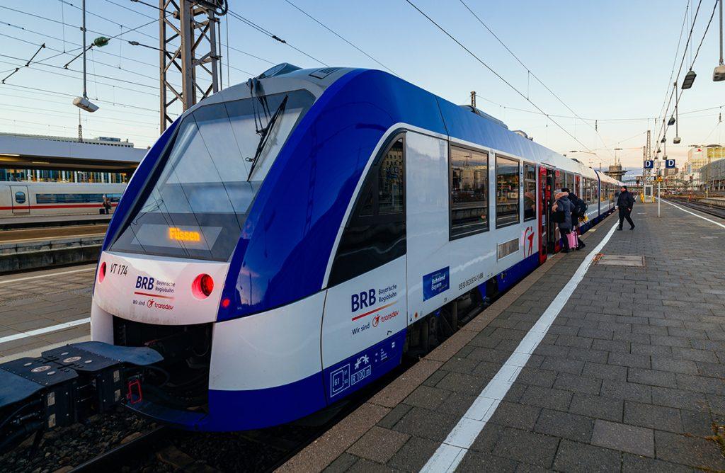 The BRB trains from München to Neuschwanstein Castle