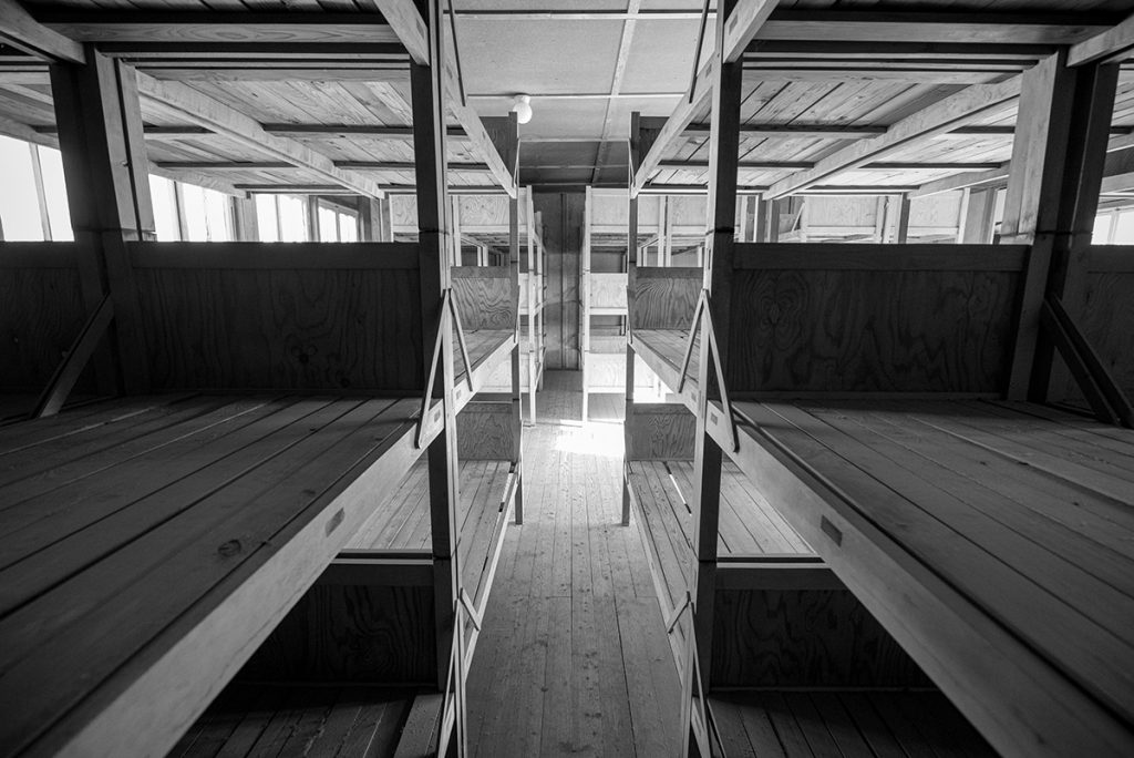 The bunk beds inside the barracks of the Dachau Concentration camp