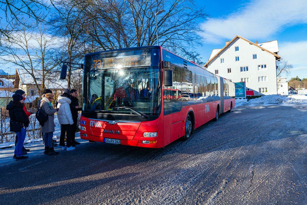 The bus stop for Neuschwanstein Castle at Füssen station