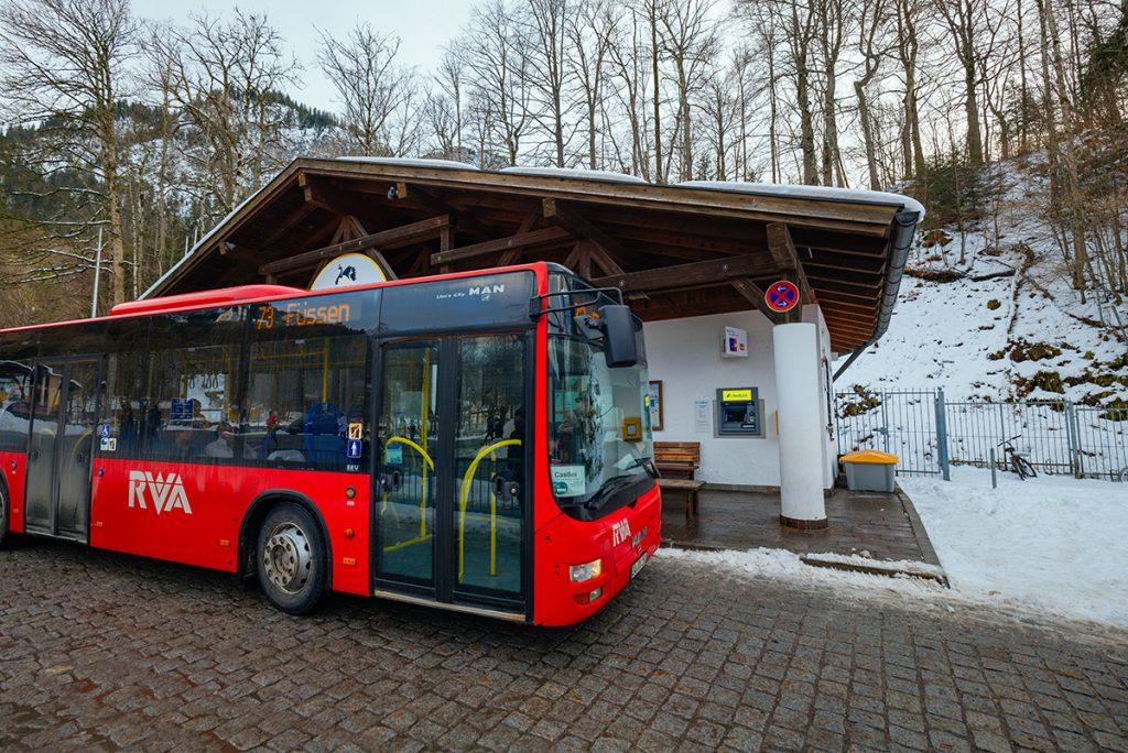 The bus stop in front of Neuschwanstein castle for Füssen