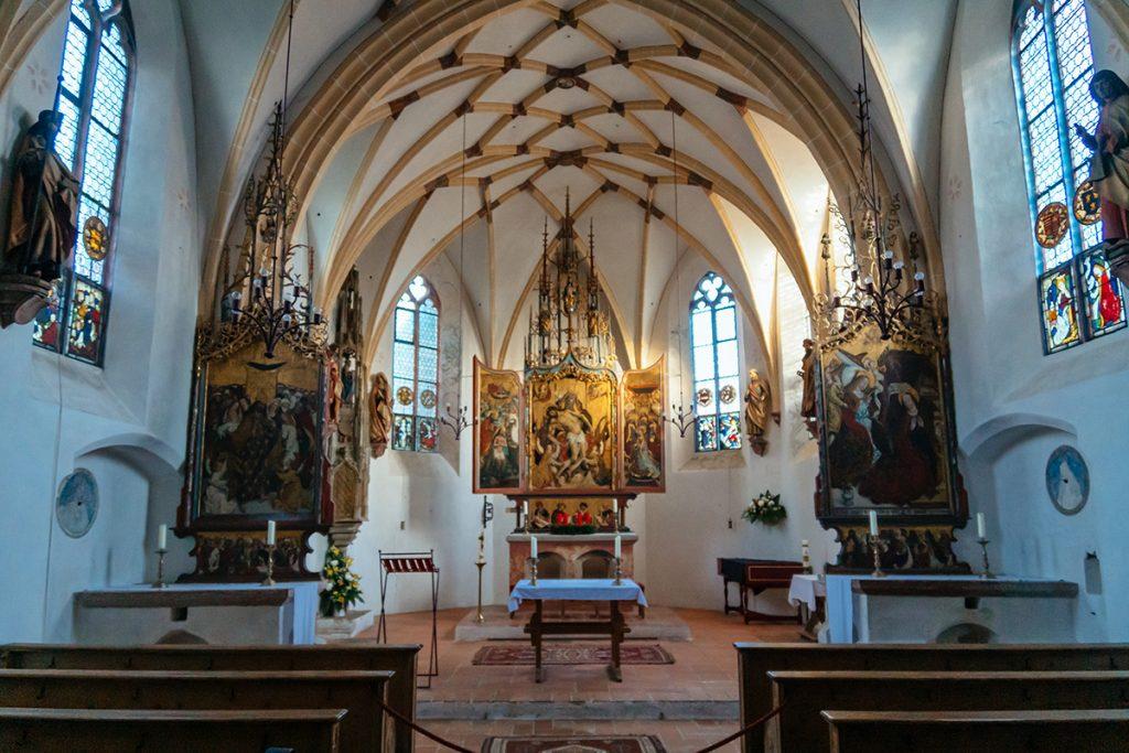 The beautiful chapel inside Blutenburg castle in Munich