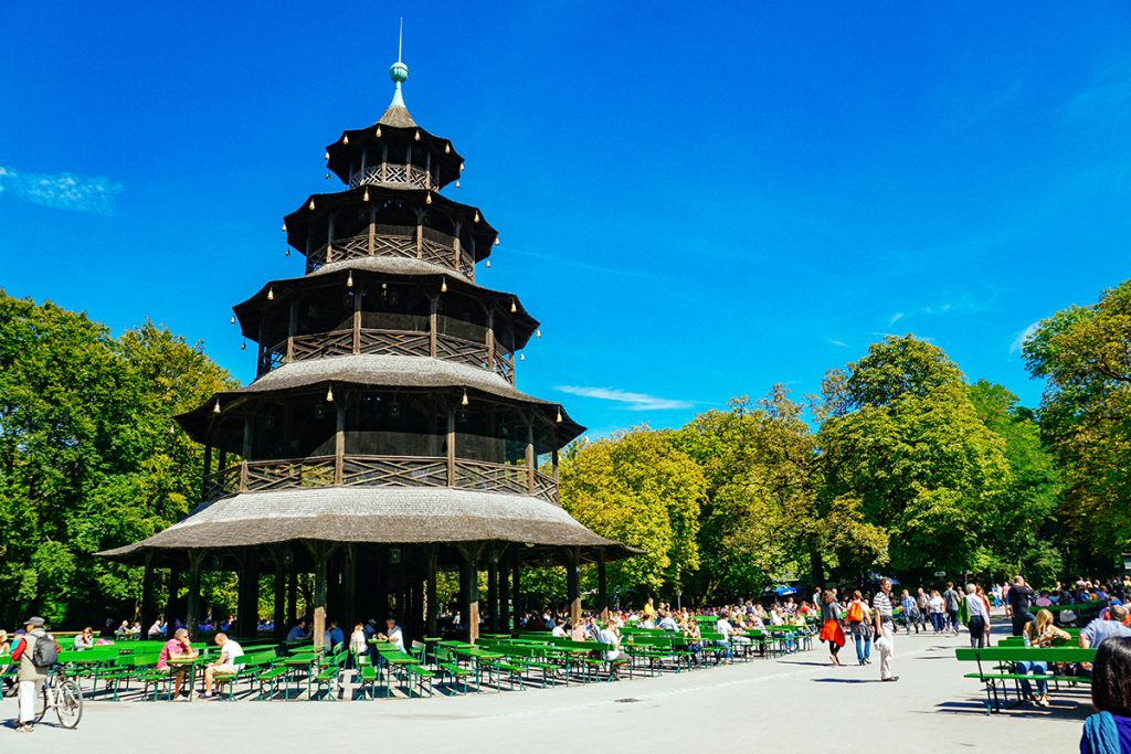 The Chinese Tower beer garden in the heart of the Englische Garten