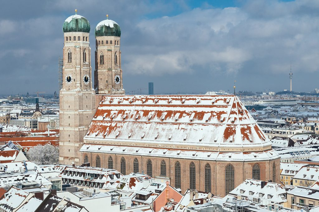 The chuch of our lady in Munich in WInter from above