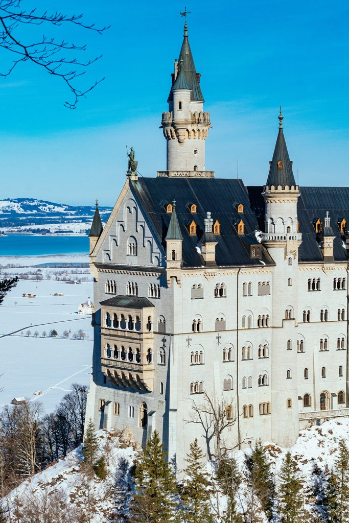 Close-up of Neuschwanstein Castle in winter