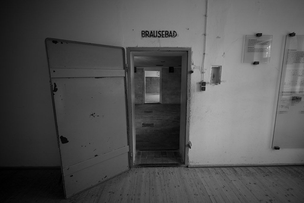 The entrance to the gas chamber of the Dachau Concentration Camp