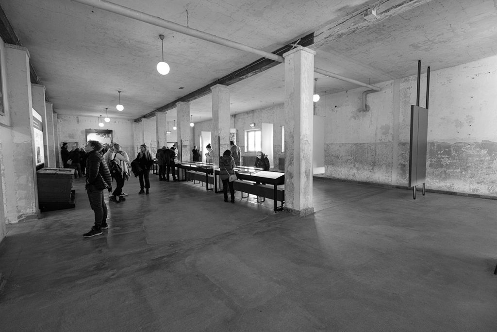 The exhibition inside the main building of the Dachau Concentration Camp