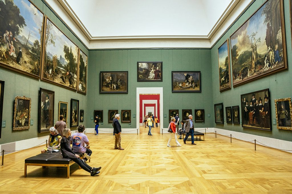 An exhibition room inside the Alte Pinakothek in Munich