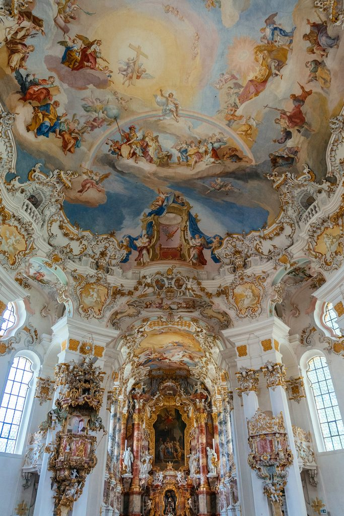 Inside the church of Wies near Munich, with the beautiful frescoes by Zimmermann