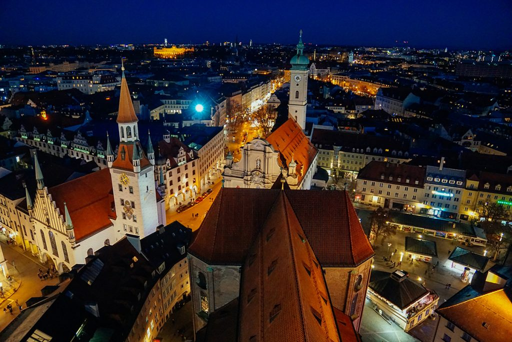 Munich at night from above alter Peter clock tower