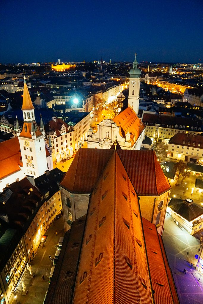 Munich at night from above as seen from the Alter Peter church tower