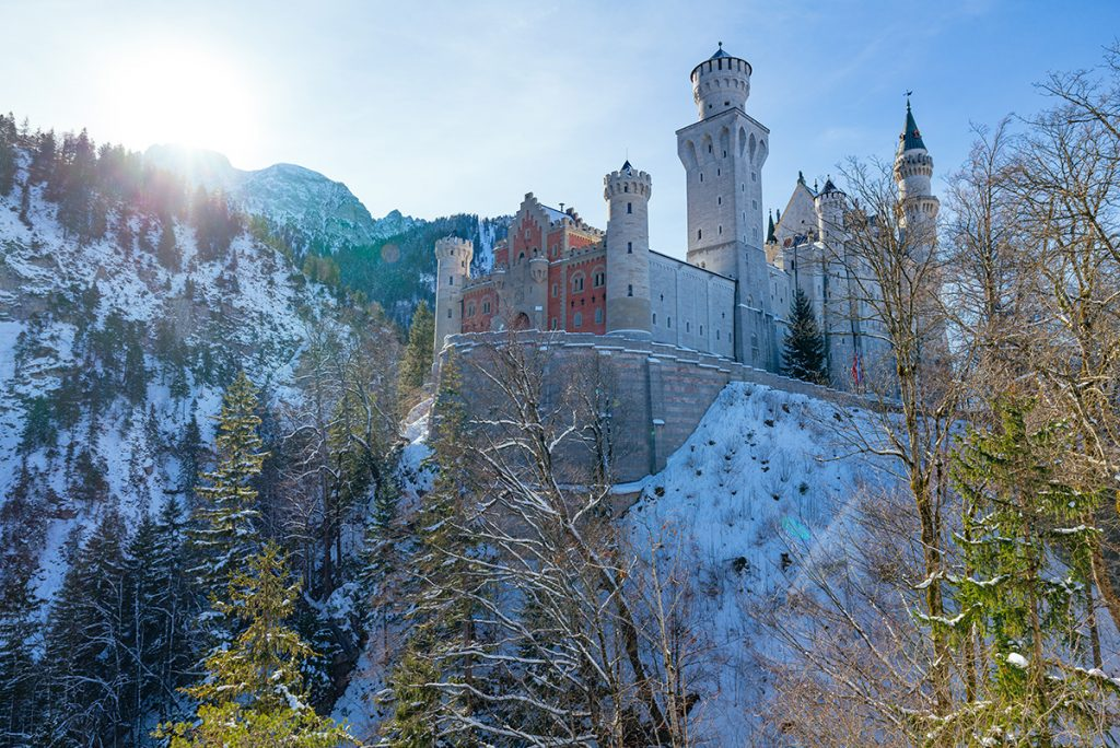 View of Neuschwanstein Castle from the first viewing platform