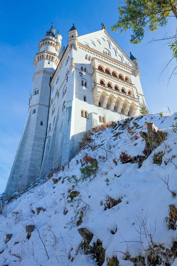 Another view of Neuschwanstein castle from below