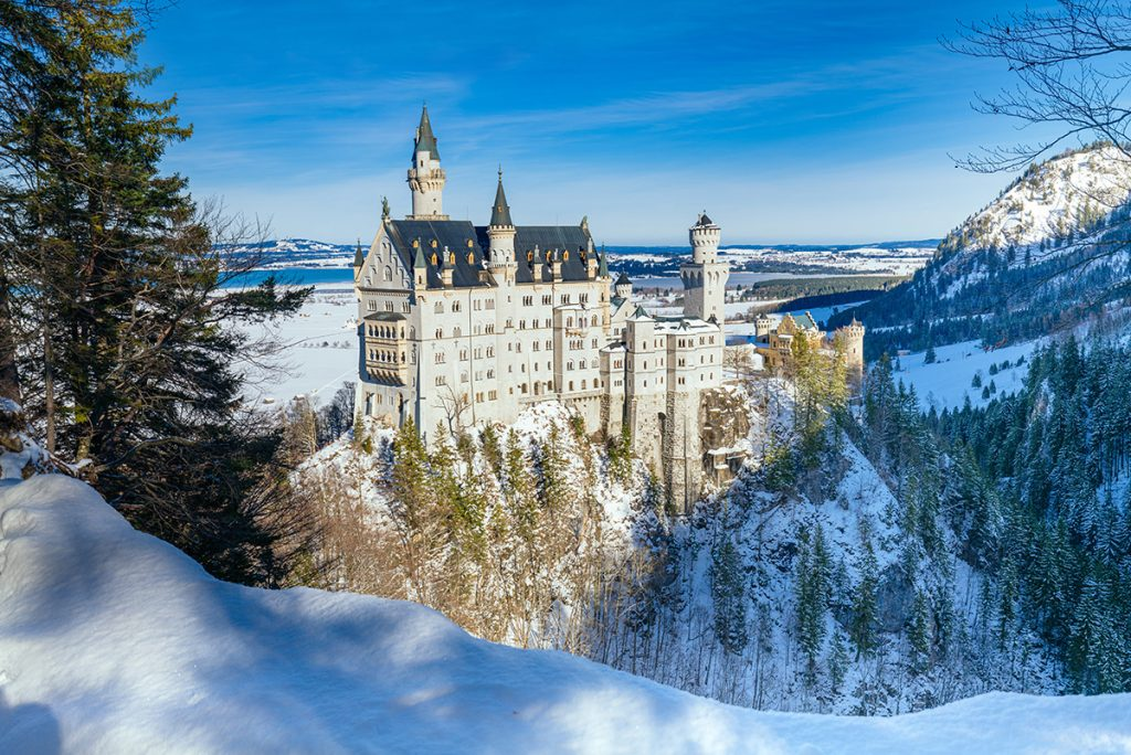 Neuschwanstein castle in winter near the marienbrücke