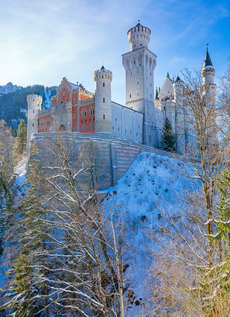 Neuschwanstein castle from below in winter