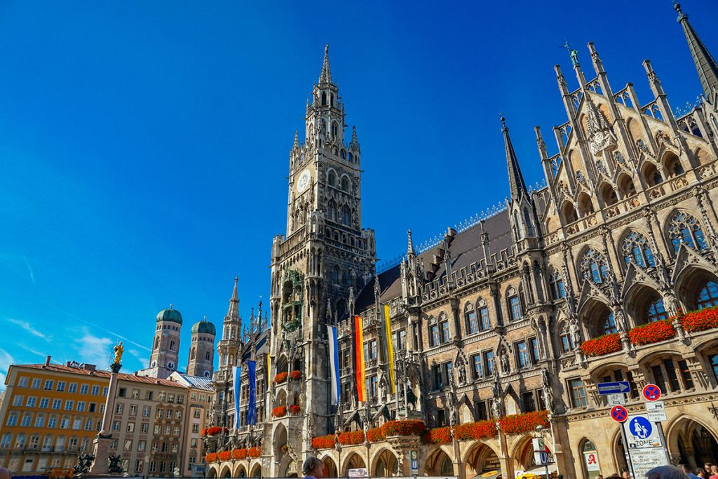 Full view of Marienplatz square and the Clock Tower of the New Town Hall with the Glockenspiel