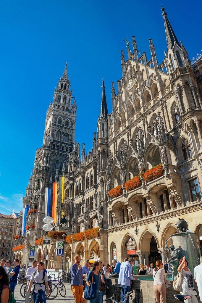 The imposing neogothic new town hall on Marienplatz in Munich