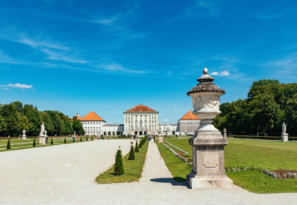 Nymphenburg palace in the North-west of Munich as seen from the park