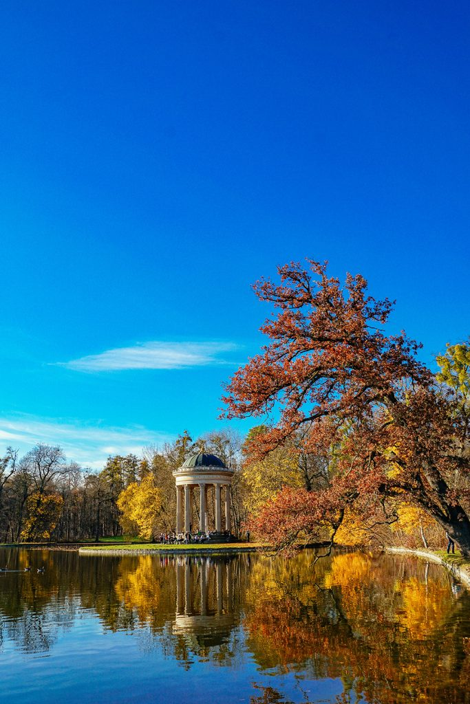 Autumn in the park of Nymphenburg Palace in Munich