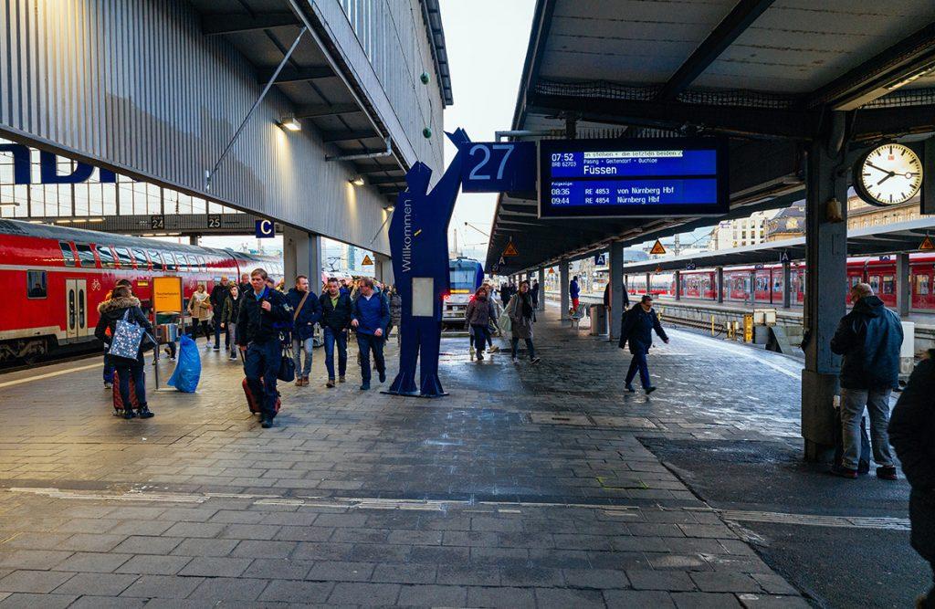 The depature platform for trains from Munich to Neuschwanstein castle