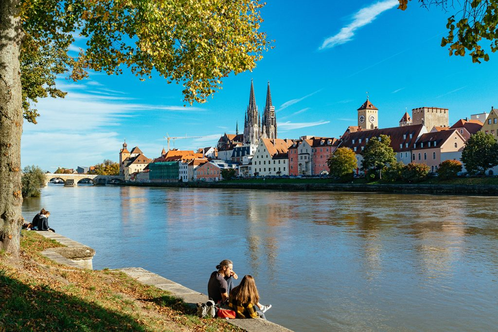 THe old town of Regensburg from the other side of the Danube