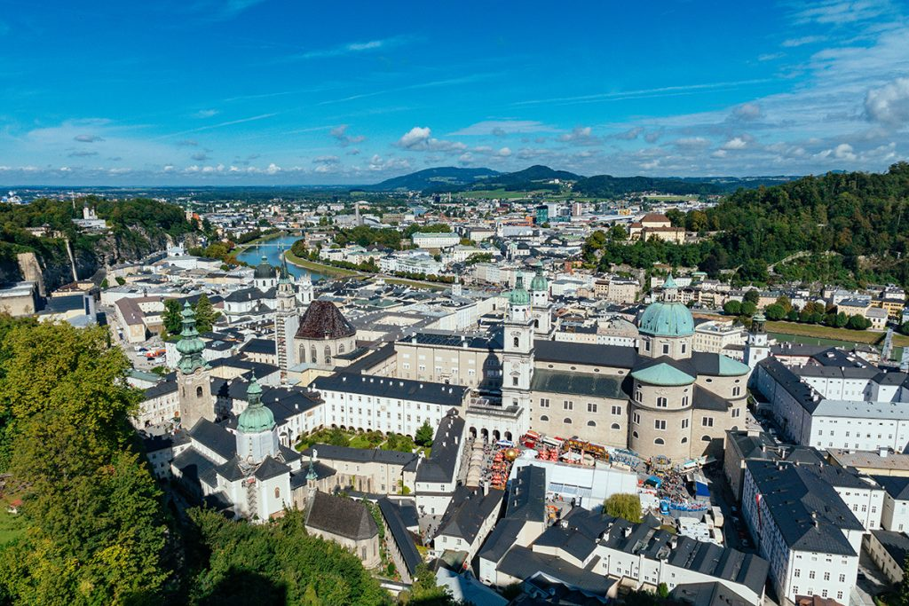 The old town of Salzburg from above the fortress