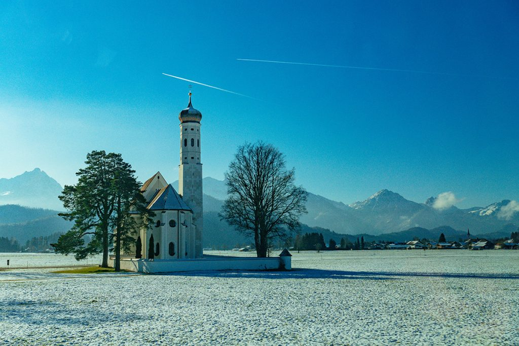 St. Coloman church in Schwangau in winter