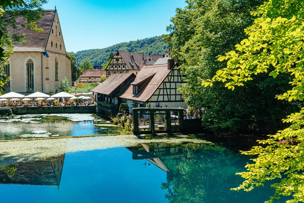 The famous Blautopf fountain and the Abbey in Blaubeuren