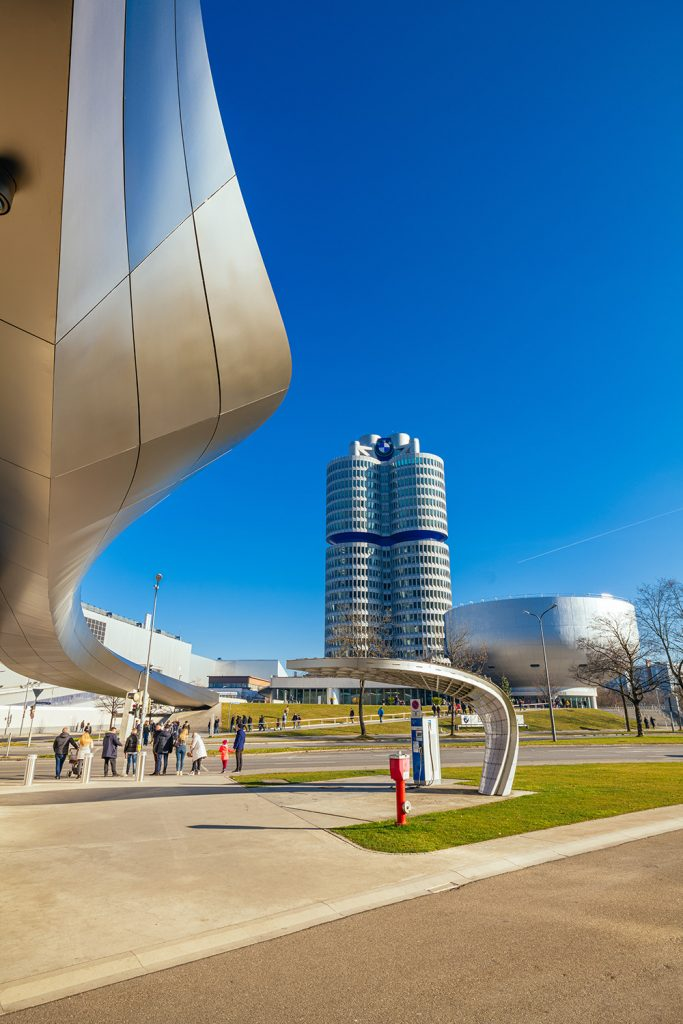The entrance of the BMW world and the bwm musuem in munich