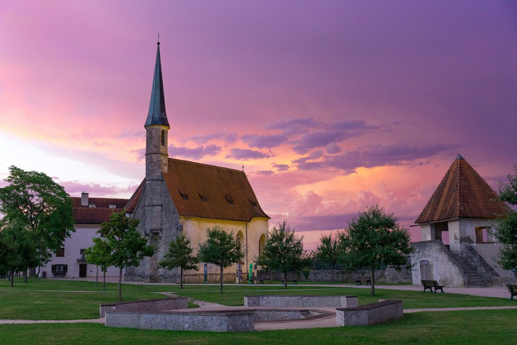 Sunset at Burghausen Castle with the little medieval chapel in the middle