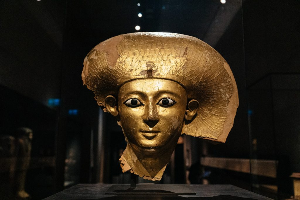The golden burial mask of queen Satdjehuti Satibu in the Egyptian Museum in Munich