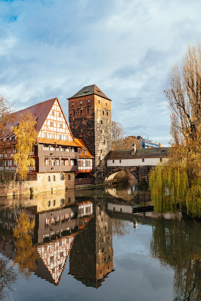 The historic half-timbered houses at the Hangman's bridge in Nürnberg