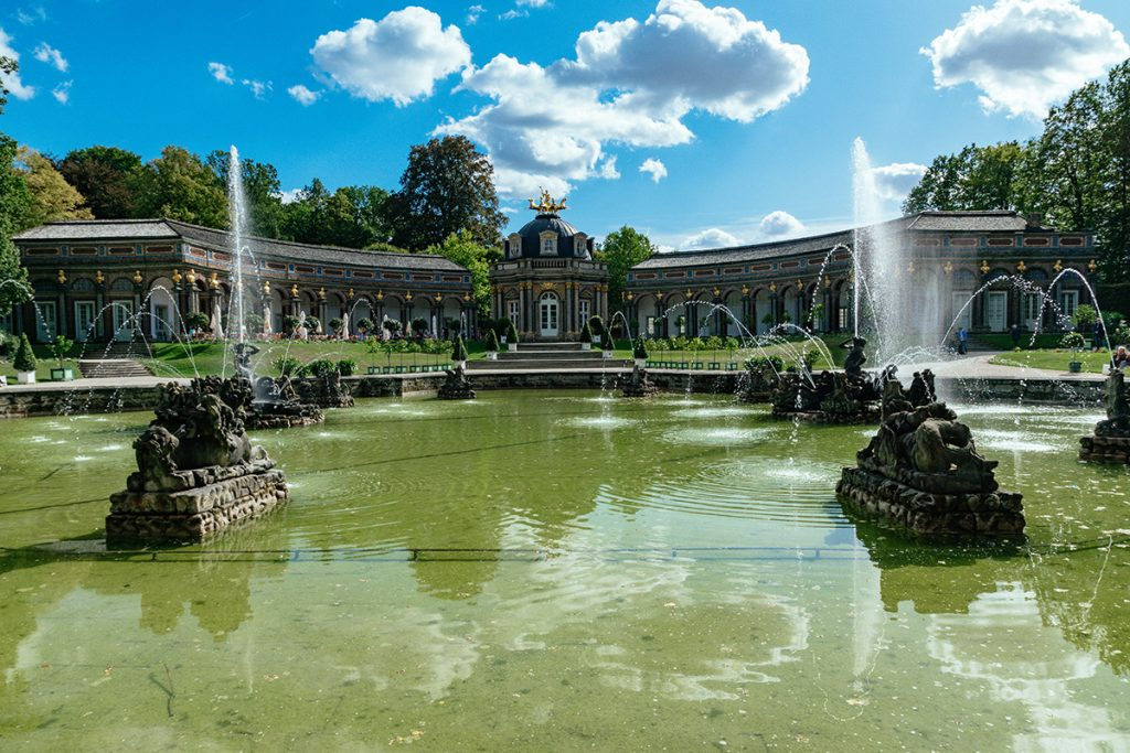 The beautiful fountains at the Hermitage palace in Bayreuth, Germany