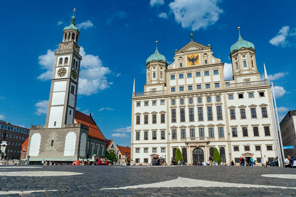The city hall and the perlachtower in Augsburg