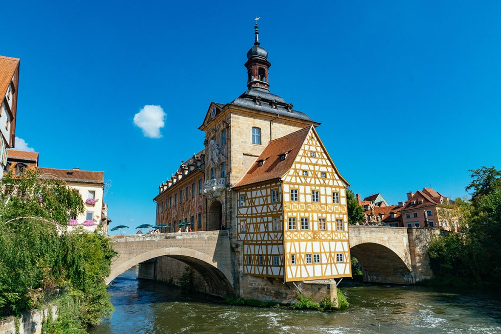 The beautiful half-timbered town hall of Bamberg - one of the best day trips from Munich