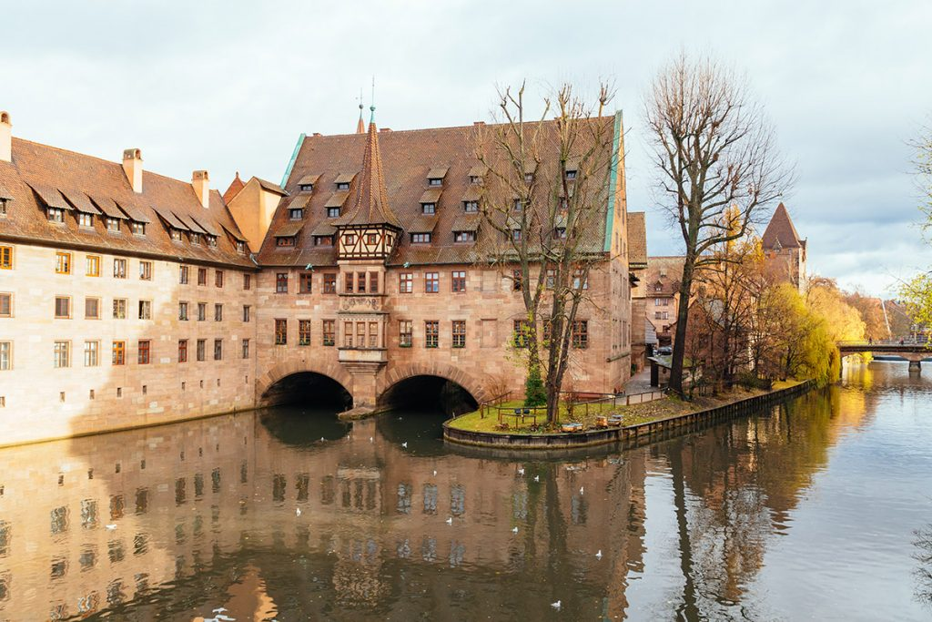 The old hospital seen from a bridge in Nürnberg - only a short day trip from Munich