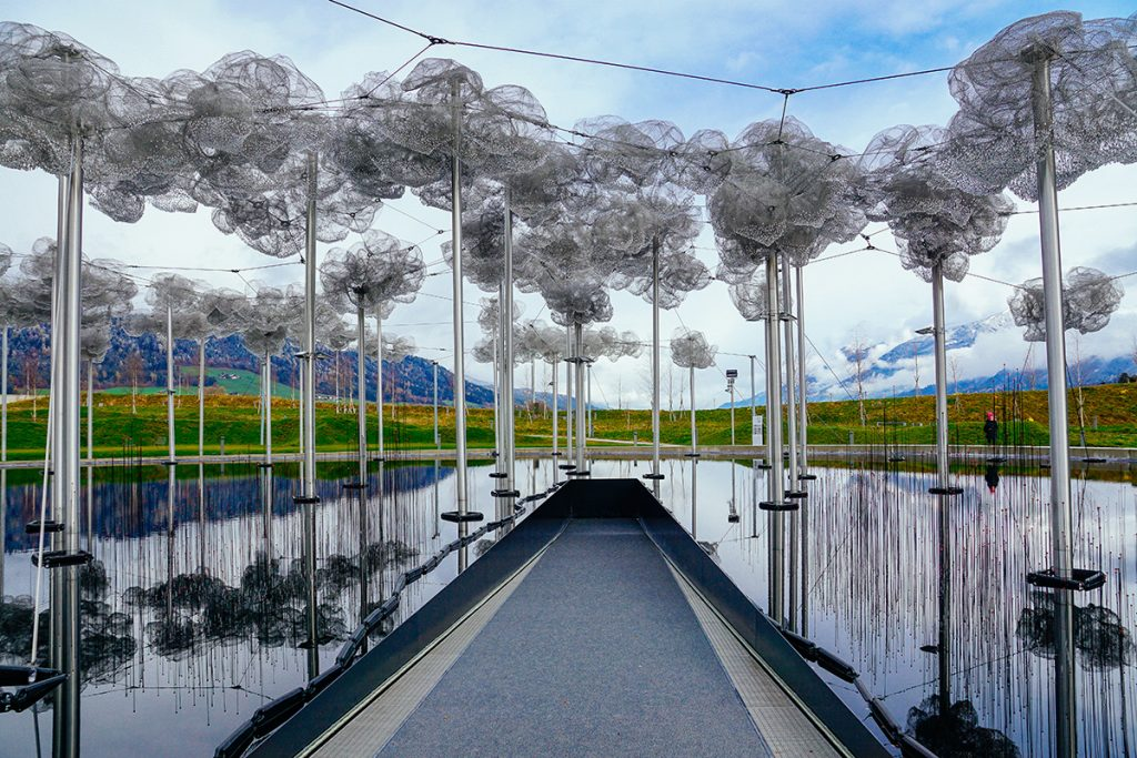 An art installation in the park of the Swarovski Crystal World near Innsbruck