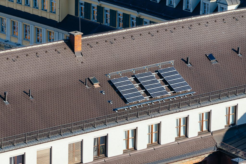 the solar panel which produces the energy for the Glockenspiel on the roof of the New Town Hall in Munich