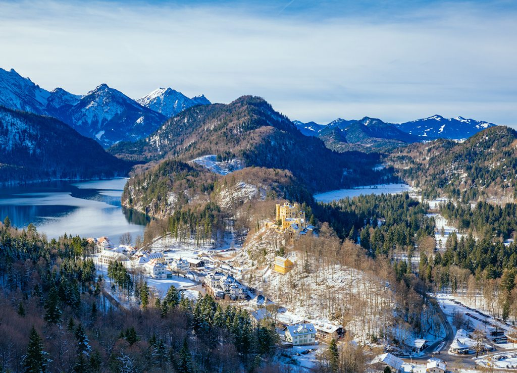 Hohenschwangau and Alpsee panorama