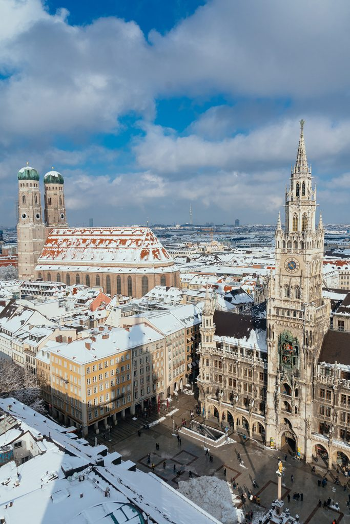 Munich from above as seen from the alter peter church tower near Marienplatz