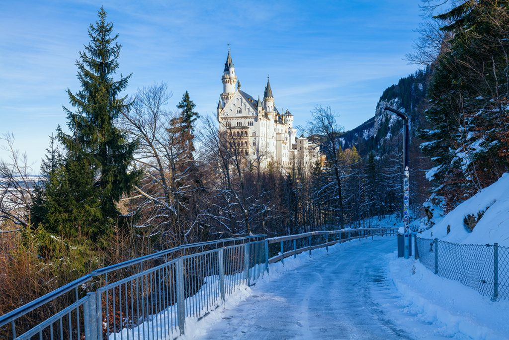 The path to Neuschwanstein Castle in winter