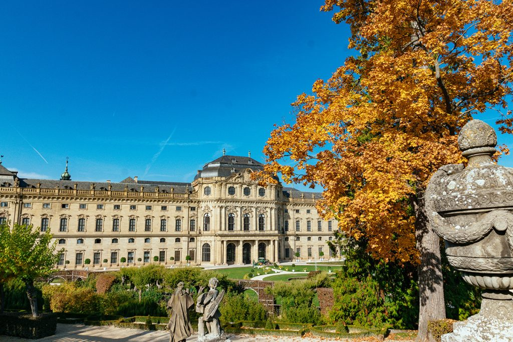 The Würzburg residence place in Autumn as seen from the garden