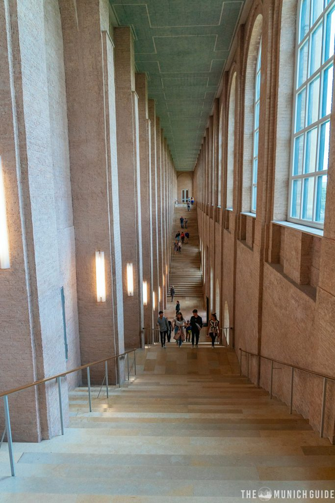 The stairs of the alte pinakothek museum in munich