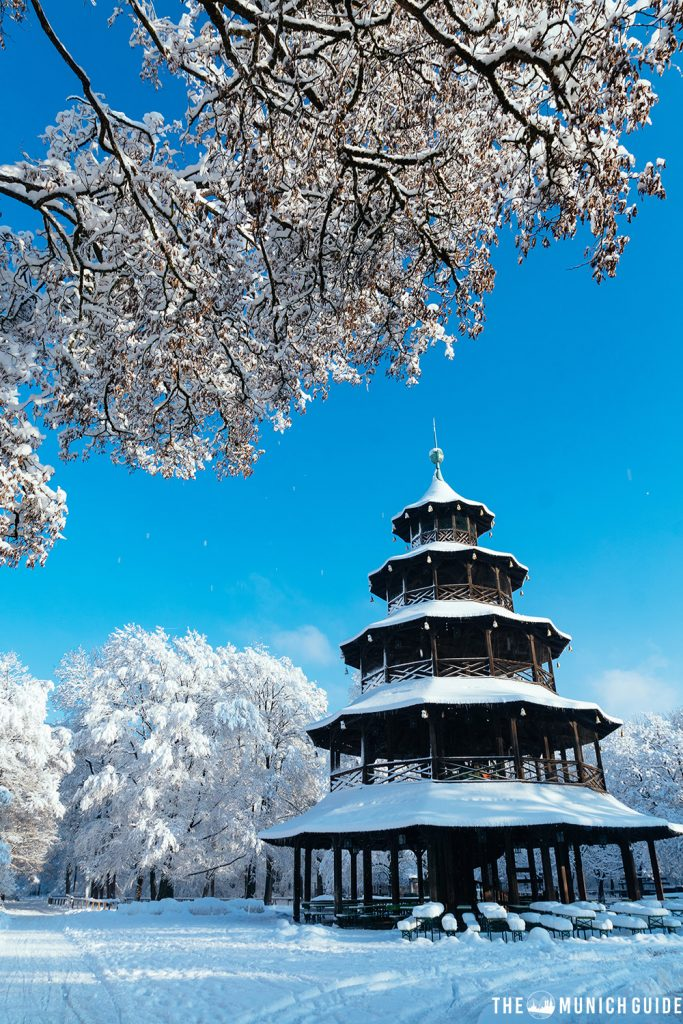 The chinese tower beer garden in winter