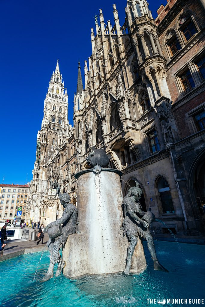 The Fischbrunnen on Marienplatz with the New Town Hall in the background