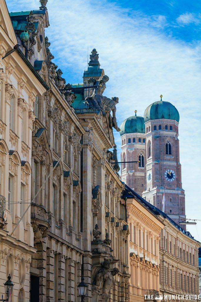 Frauenkirche as seen from a sidestreed behind Odeonsplatz - an excellent instagram spot in Munich