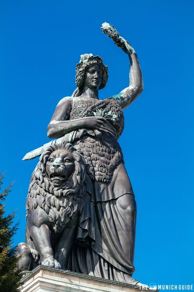 Full shot of the Bavaria Statue with oak wreath and lion