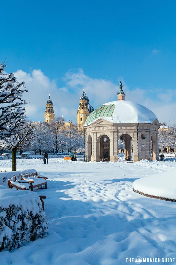 The hofgarten in Munich in winter