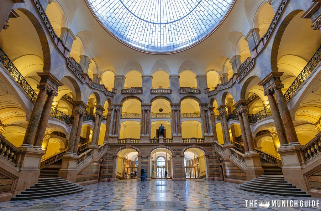 Inside the beautiful Justizpalast in Munich